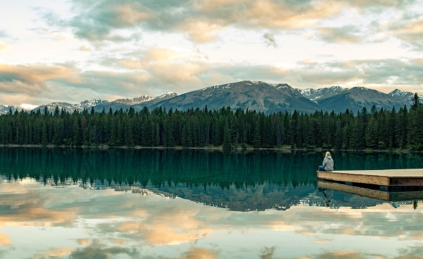 ALGONQUIN Enjoying the beautiful landscape by Annette Lake in Jasper National Park  Canadashutterstock 530657062