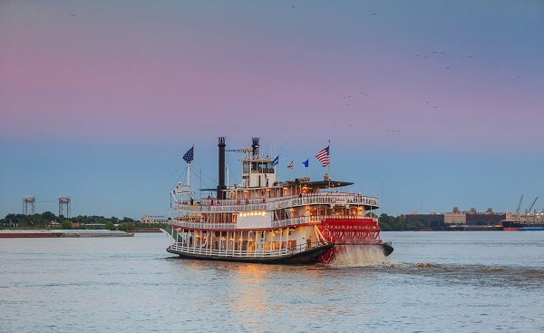 BUS-NY-SUED New Orleans paddle steamer in Mississippi river in New Orleans  Louisiana shutterstock 313884338