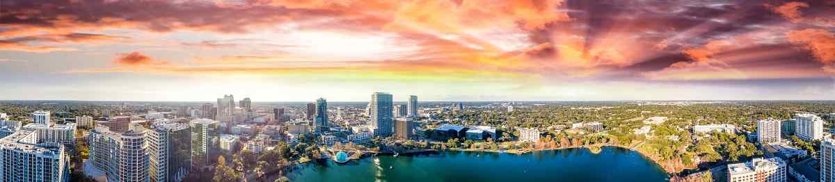 BUS-NY-SUED Panoramic aerial view of Lake Eola and surrounding buildings  Orlando 736272670