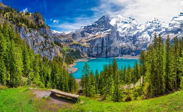 CH-WAN-JURA Amazing tourquise Oeschinnensee with waterfalls and Swiss Alps  Kandersteg  Berner Oberland  Switzerland  - Bilder shutterstock 1015047394