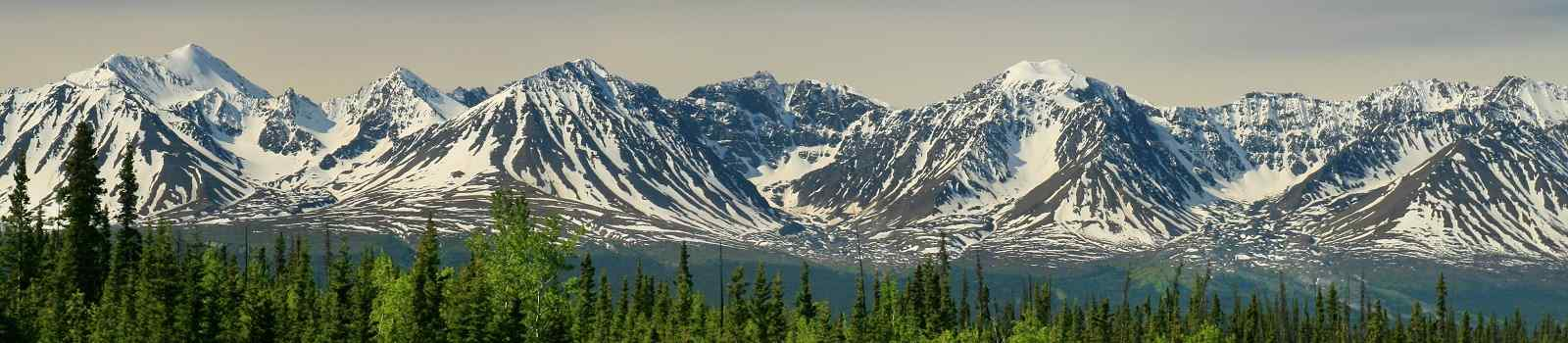 DENALI Awesome panoramic view of Yukon mountains as seen from the Alaska Highway shutterstock 430425310