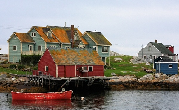 HALIFAX-EXP The Fishing House at Peggy Cove on a Cloudy Early Morning  Nova Scotia 310828562