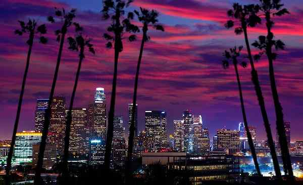 HOHE-PUNKT-WESTEN Los Angeles Downtown sunset 155452709