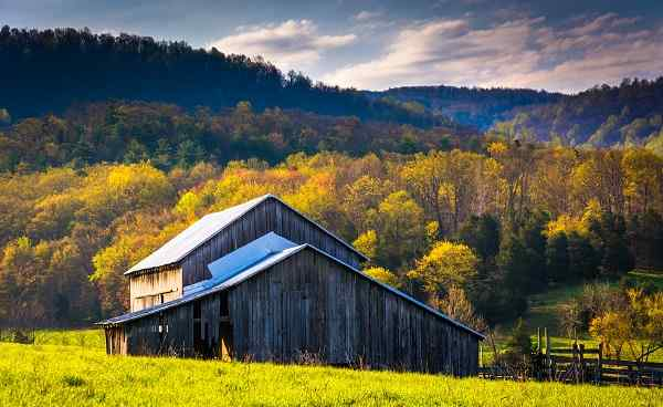 KL-USA-APPALACHIAN Old barn and spring colors in the Shenandoah Valley  Virginia shutterstock 196369310