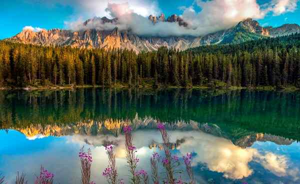 Lake Carezza with Mount Latemar Bolzano province South tyrol 767761750