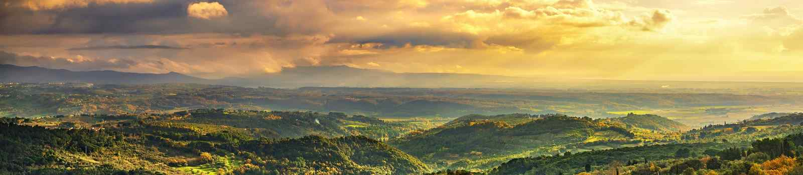 Maremma sunset panorama  Countryside  hills and sea on horizon  Val di Cecina Livorno coast  Tuscany  Italy Europe shutterstock 539423839