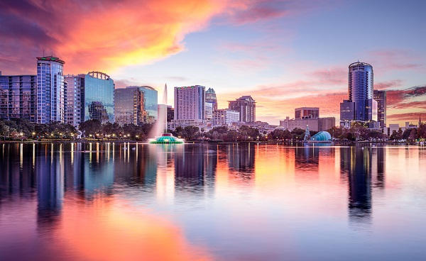 Orlando  Florida  USA downtown city skyline from Eola Park shutterstock 240028987