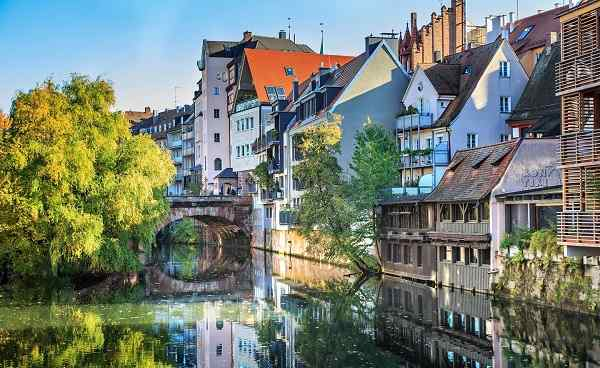 RAD-BAYERN The riverside of Pegnitz river in Nuremberg town  Germany shutterstock 516123577