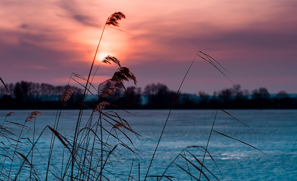 RUECKEN-SCHLIE Beautiful frozen lake in the evening at sunset shutterstock 597354614