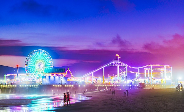 Santa Monica beach at night in summer season  519547276