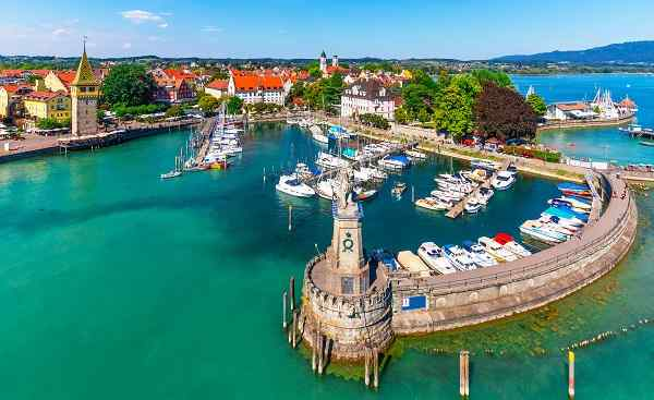Scenic summer aerial view of the Old Town pier architecture in Lindau  Bodensee or Constance lake  Germany shutterstock 1168888309