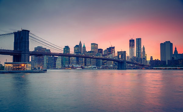 UPSTATE-NY-EXP Brooklyn bridge at dusk  New York City 120154516